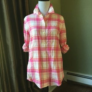 Vineyard Vines Whale Logo Pink Plaid Shirt 2 XS